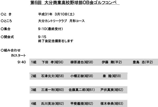 大分商業高校野球部OB会ゴルフコンペ(平成31年3月10日)小野高速